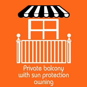 Private Balcony with sun protection awning παροχή